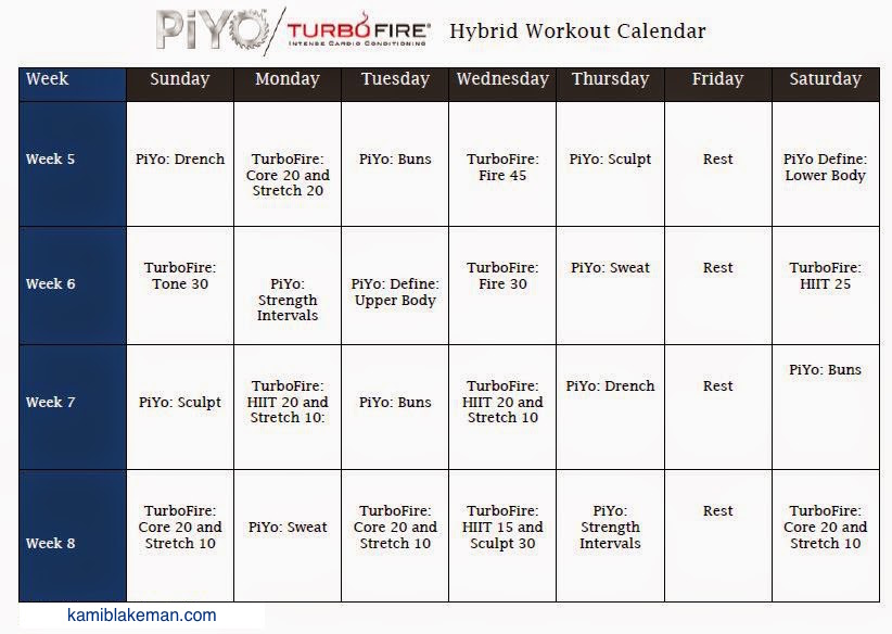 Turbo Fire/PIYO Hybrid Workout Schedule | Fit Momma